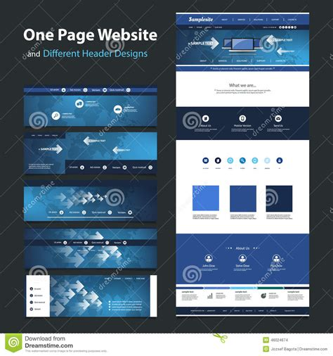 One Page Website Design Template And Different Headers Stock Vector Illustration Of Element Ux Website Templates