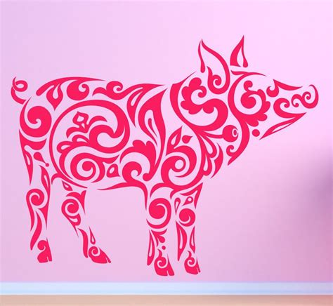 tribal boar tattoo farm pig hog boar tribal pattern vinyl wall sticker