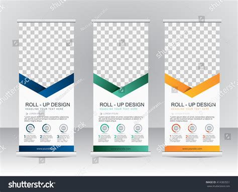 roll up stand design templates roll banner stand template design stock vector 414383551