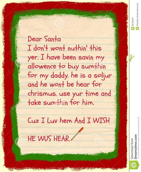 Gift Letter To Child Santa Letter Requests Gift For
