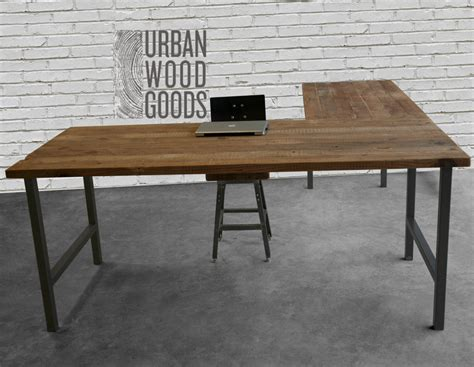 L Shaped Desk With Reclaimed Wood Top And Square Steel Legs Wooden L Shaped Office Desk