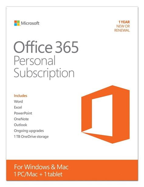 Office Yearly Subscription Microsoft Office 365 Personal 1 Pc Or Mac License 1