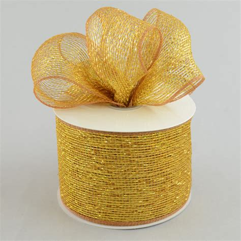 4 quot poly deco mesh ribbon metallic gold brown rs200563