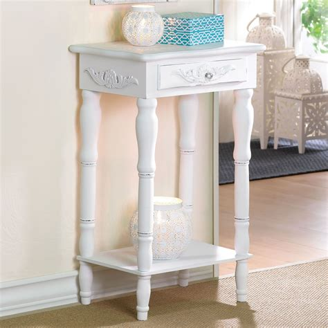 White Accent Table Cosenza Antique White Accent Table With Drawer