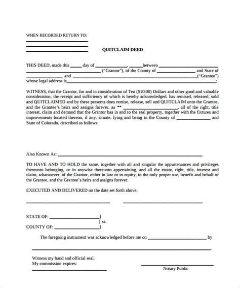 template of quit claim deed 11 quitclaim deed forms sles exles format sle templates