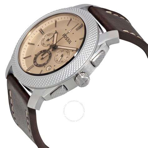 Leather Fossil fossil machine chronograph brown leather s