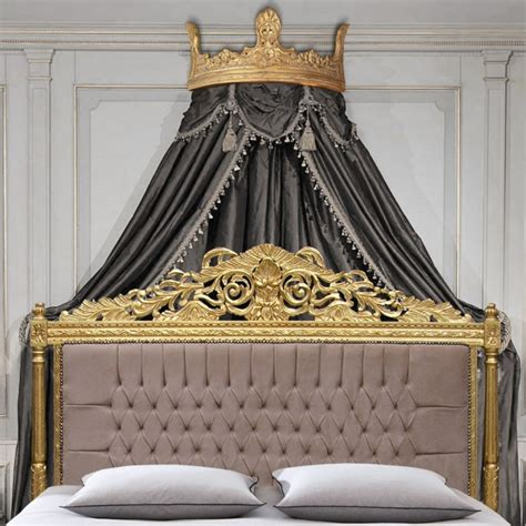Bed Crown Canopy Bed Canopy In Wood Gilded And Patinated Carved Crown Shaped