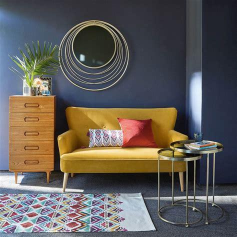 Mustard Yellow 2 Seater Velvet Sofa Yellow Sofa Room