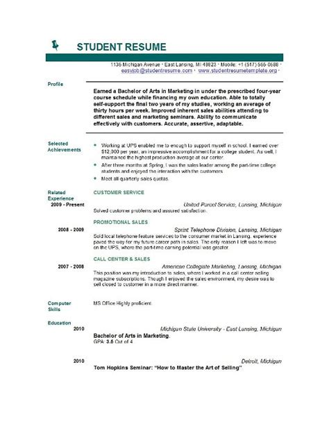 student resume format resume sles for college applications