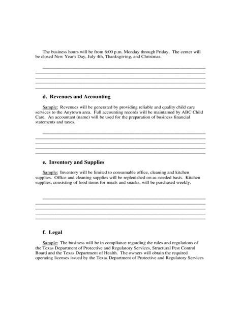 generic business plan template sle business plan free