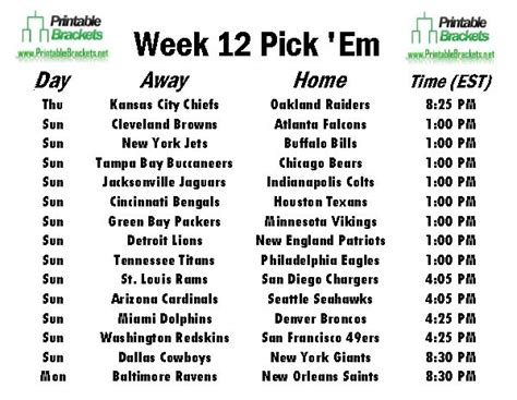 printable nfl schedule week 12 search results for printable nfl schedule week 16