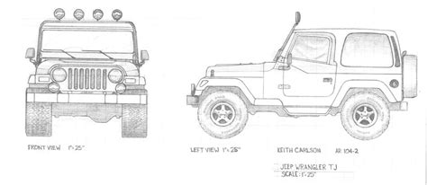 4 door jeep drawing jeep tj by kcarl19 on deviantart
