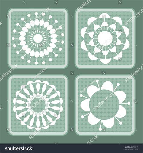 pattern blocks francais four green and white retro flower pattern blocks stock