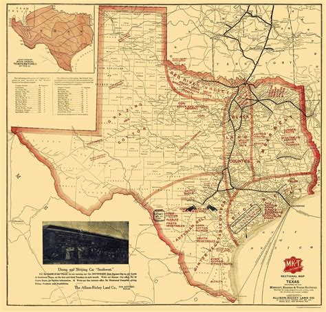 texas railroad maps railroad map missouri kansas and texas railroad 1907 24 x 23 ebay