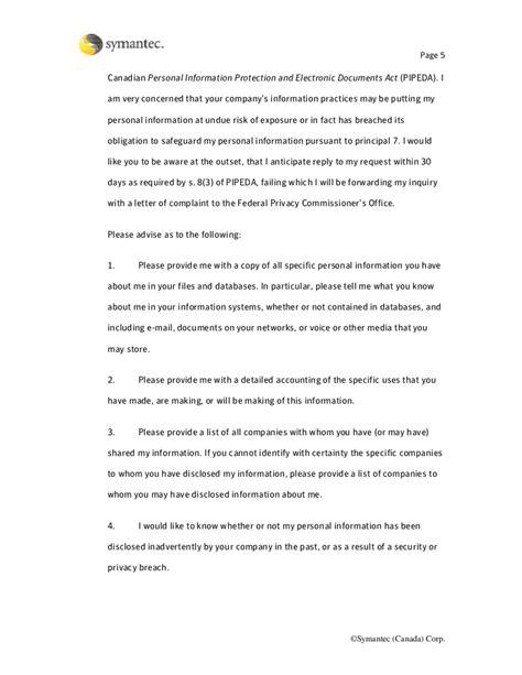 Privacy Access Letter I Feb 5 07 Pipeda Privacy Policy Template
