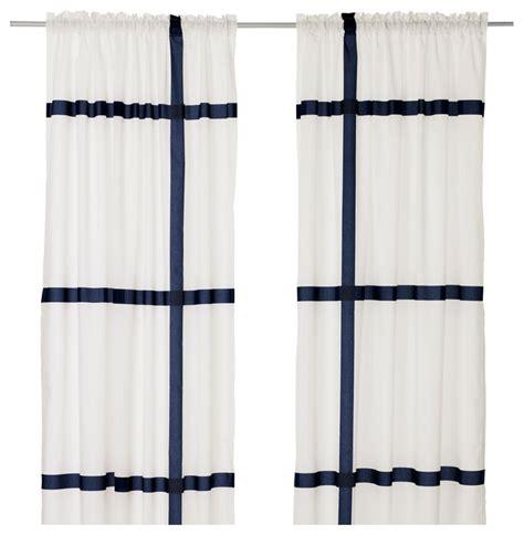 dark blue and white curtains marmorblad curtains white dark blue set of 2