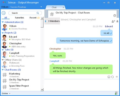 output messenger chat room chats srimax softwares