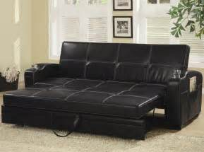 black faux leather sofa bed with white stitching