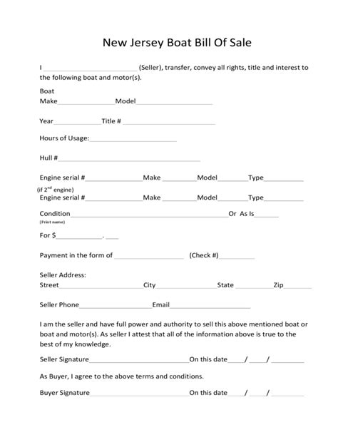 how to write a boat bill of sale boat bill of sale form new jersey free download
