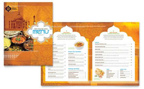 menu templates for publisher indian restaurant menu template design