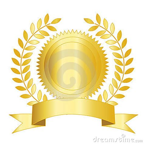 seal ribbon gold seal ribbon and laurel royalty free stock image