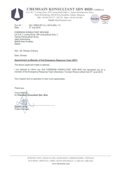 Urgent Response Letter Letter Of Appointment Chemsain Konsultant Sdn Bhd Member Of The