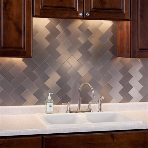 Stick On Backsplash Tiles For Kitchen 32 Pcs Peel And Stick Kitchen Backsplash Adhesive Metal Tiles For Wall