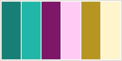 what colour goes with pink colorcombo248 with hex colors 177f75 21b6a8 7f1769