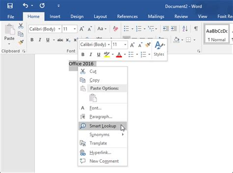 Word Lookup Screenshot Tour What S New In Office 2016