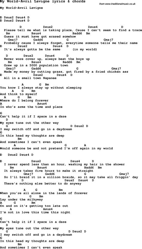 testo complicated song lyrics for my world avril lavigne with chords