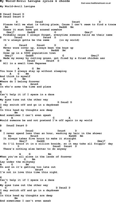 avril lavigne songs chords lyrics