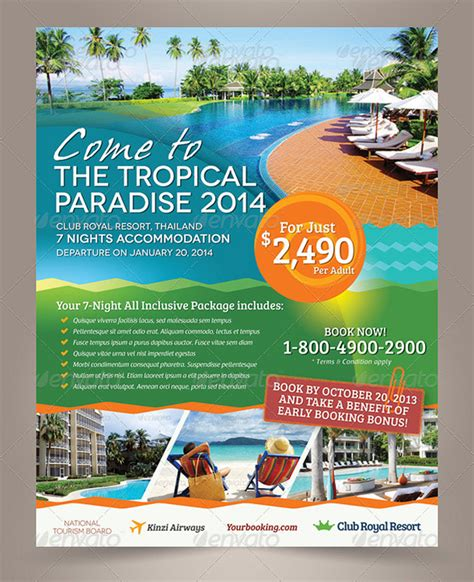 vacation flyer template 15 cool travel flyers printaholic