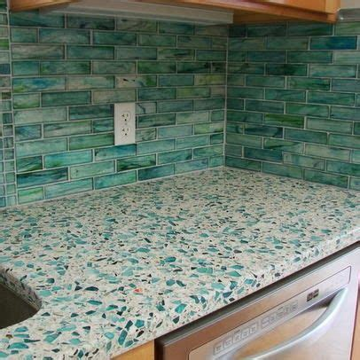 recycled glass counter with tile backsplash color me