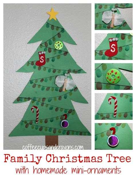 christmas craft for kids family tree with mini ornaments