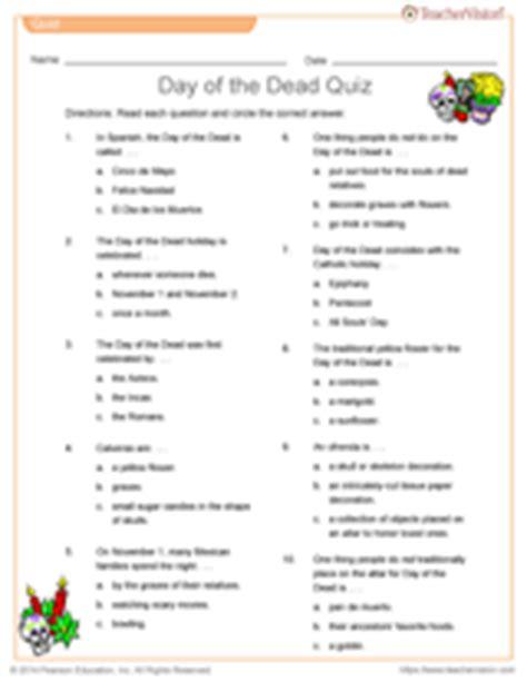 printable daily quiz printable day of the dead quiz teaching dia de los