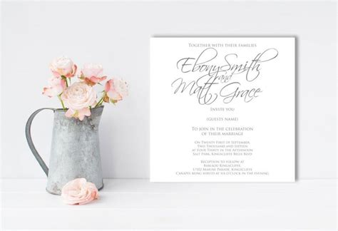 Wedding Font Simple by Grey And White Wedding Invitation Scripted Font Simple
