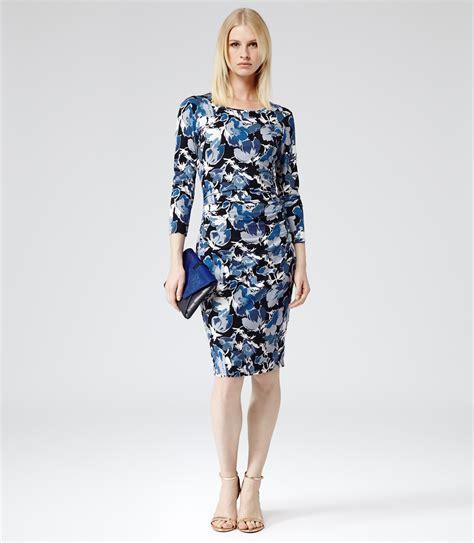 Blue Floral Dress 30165 reiss zizzi floral print dress in blue lyst