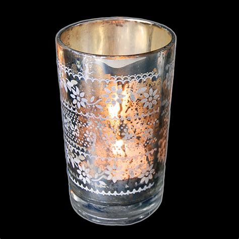 Silver Glass Candle Holders Dotcomgiftshop Silver Glass Tea Light Candle Holder
