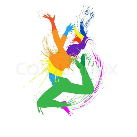 layout definition dance dancing girl with colorful spots and splashes on white