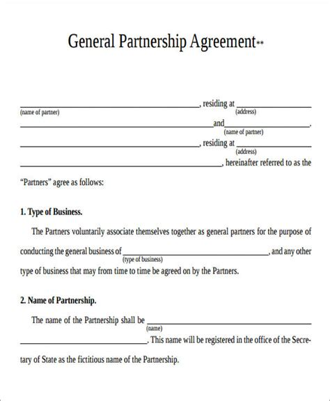 general partnership agreement template partnership agreement form agreement form format