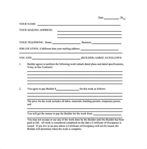 remodeling contract template 9 free documents