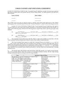 child visitation agreement template usa child custody and visitation agreement between parents