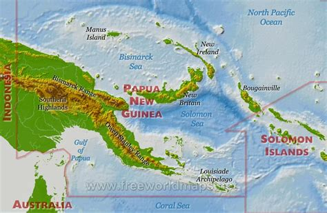 physical map of papua new guinea papua new guinea physical map