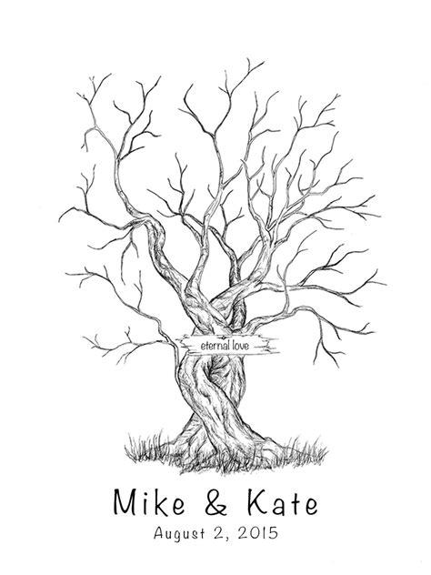 guestbook tree template canvas wedding tree guest book fingerprint tree