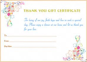 Thank You Certificate Templates Free by Thank You Gift Certificate Template With Swirl Borders