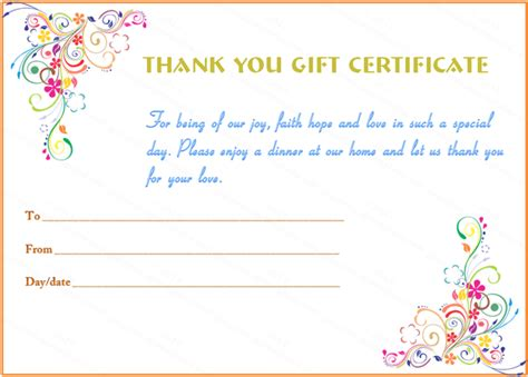 thank you certificate templates free special day thank you gift certificate template