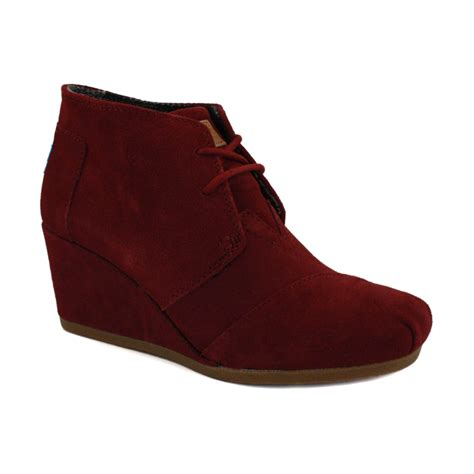 toms desert wedges laced suede wedges shoes burgundy
