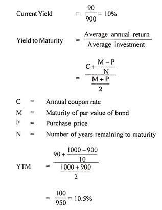 exle of yield to maturity calculation of return on bonds with formula