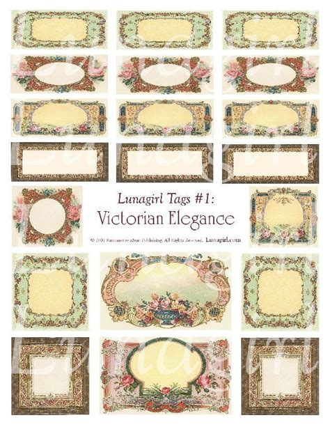 printable victorian tags victorian elegance tags download digital collage sheet vintage