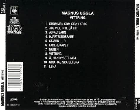 back of cd magnus uggla images magnus uggla vittring cd back cover